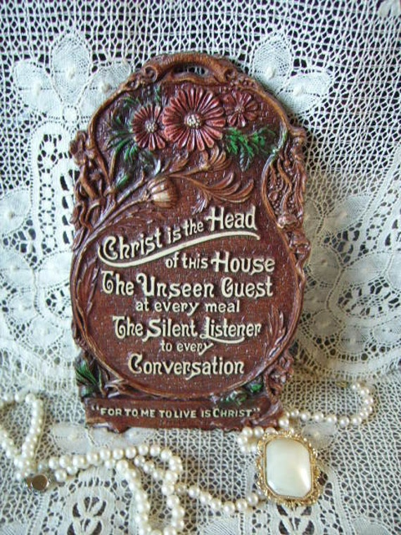 Vintage Wall plaque Christ is the unseen guest dining/kitchen