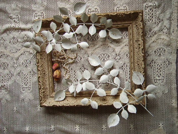 Treasury item Shabby Country Cottage Metal Leaves, PAIR, distressed, creamy white