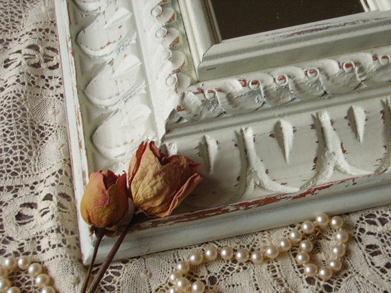 TREASURY ITEM Upcycled Shabby Romantic Cottage Carved wood mirror, Medium, rectangle, recycled, salvaged