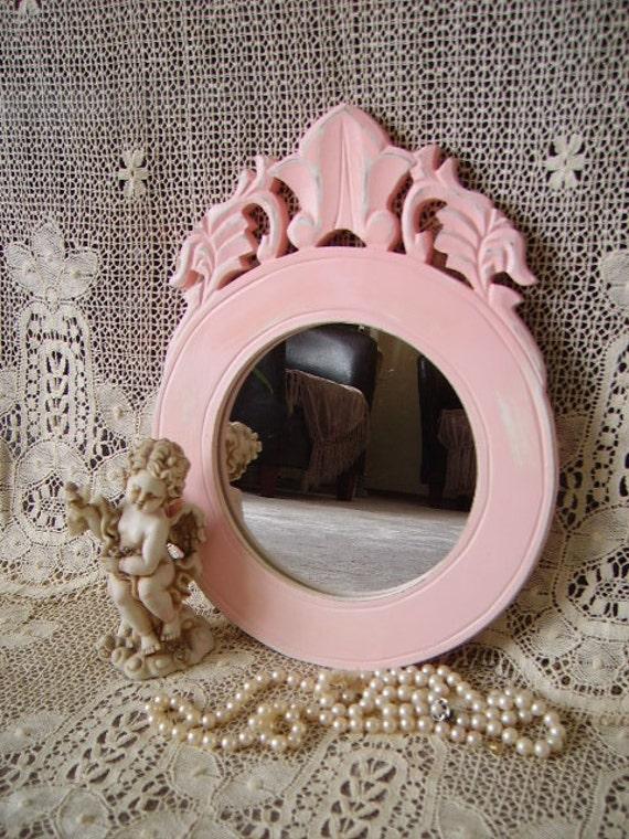 Shabby Paris Pink Round mirror, elegant, distressed, pink, romantic