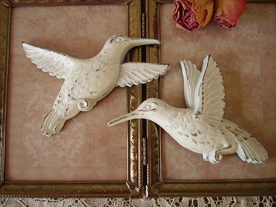 Shabby Romantic Cottage Hummingbird PAIR, creamy white, distressed, small wall accents