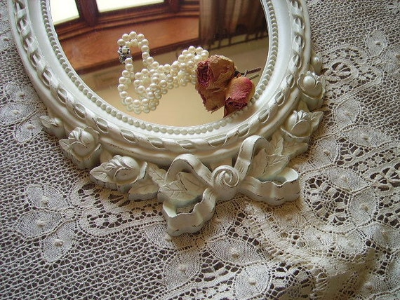 RESERVE Ribbons and Roses Shabby Romantic Cottage Mirror, creamy white, distressed