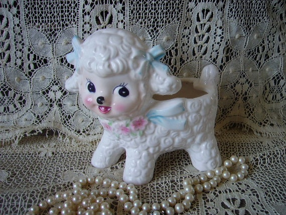 Vintage Little Lamb planter, storage, baby, nursery