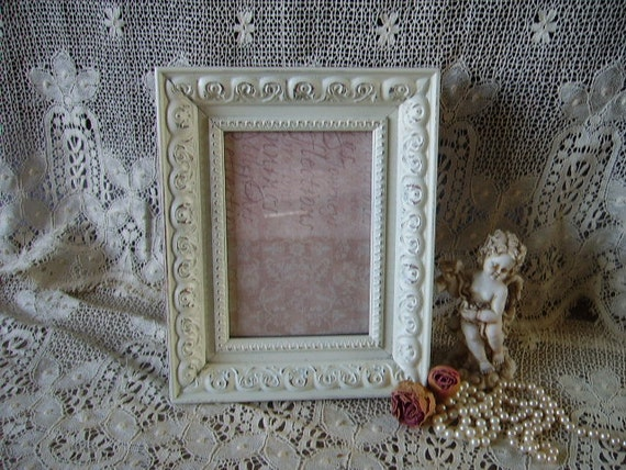 Romantic French country Cottage Frame, distressed, creamy white, baroque style,