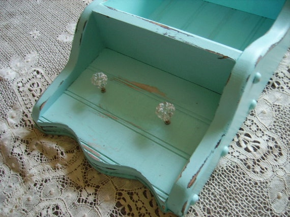Shabby Country Cottage Robin egg blue collectibles shelf, distressed, upcycled, recycled, salvaged