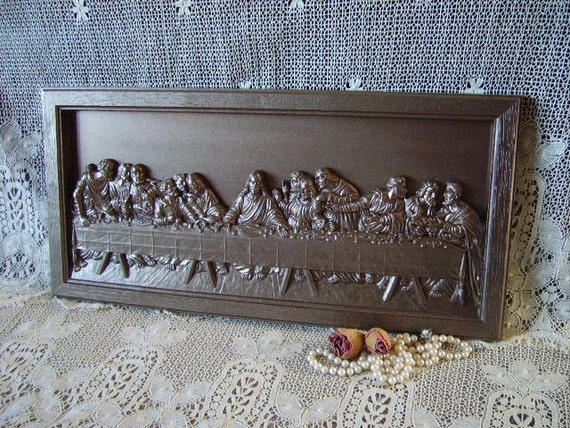 Bronze painted Last Supper Plaque, upcycled