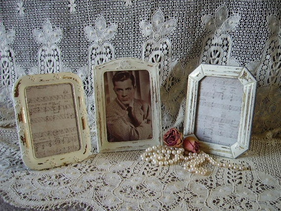 Shabby Cottage Painted Frames Collection Three, creamy white, chippy, heavy distressed, metal