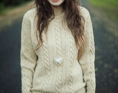 Pale Brown Knitted Grandpa Sweater