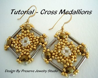 Bugle Bead Tutorial, Seed Bead Pattern, Earring Tutorial, Seed Bead Tutorial, Cross Medallions, Tutorial, How to make earrings,