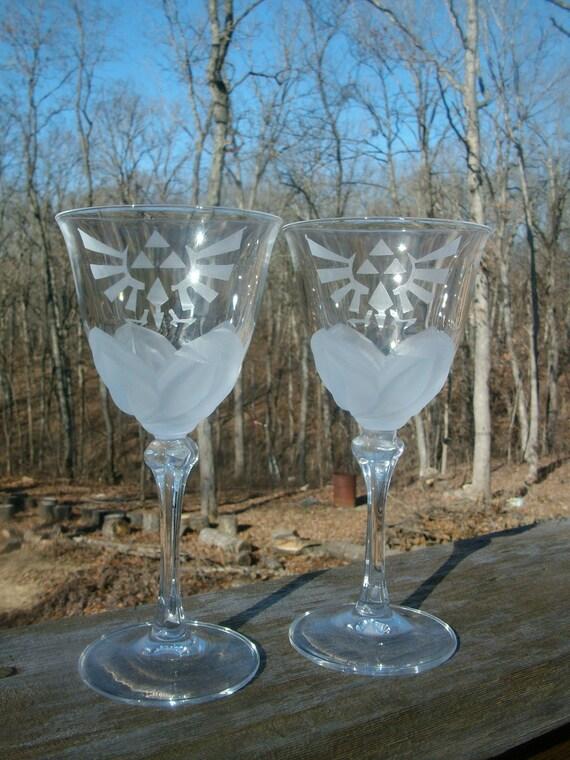 RESERVED LISTING FOR Tigerss - Zelda Royal/Hylian Crest Wine Glass Set