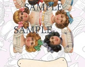 Collage sheets altered art Victorian Jointed Paper Dolls 3 page PDF file for download