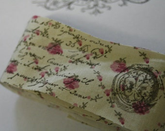 Hand-Stamped Fabric Trim Ribbon, French Script and Fleur-De-Lis Seals,  Laura Ashley Fabric, 1 1/2 Yards, Junk Journal, Vintage, Art Journal