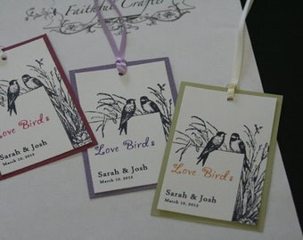 Wedding Favor Tags, Love Birds, Thank You Tags, Christian, Birds, Unique, Shabby Chic, Rustic, Personalized, Romantic, Vintage