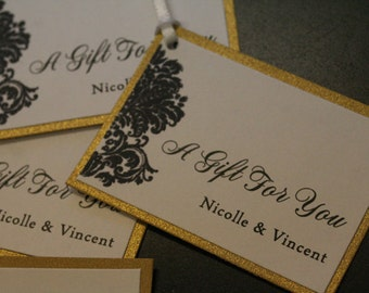 Wedding Favor Tag, Luxe Edition, Gold Metallic, Ivory and Black Damask Pattern, Personalized