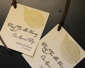 Wedding Favor Tags, Gold Leaf, Personalized, Unique, Thank You tags, Rustic, Custom Color Options