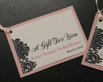 Bridal Shower Favor Tags, Wedding Favor Tags, Wedding Gift Tags, Personalized, Damask, Custom Color Choices