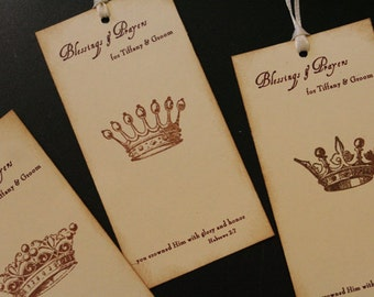 Wedding Wish Tree Tags, Blessings and Prayers, Personalized, Wedding Favor Tags, Vintage Crowns, Scripture