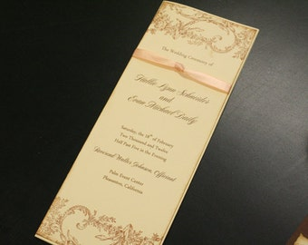 Vintage Wedding Program Book, Flowers & Flourish, Folded, Order of Service, French, Romantic, Unique,  Marie Antoinette