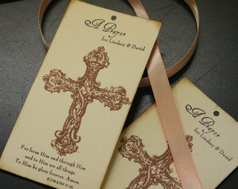 Wedding Prayer Tree Tags, Vintage, Wedding Favor Tags, Ornate Cross, Scripture, Personalized, Christian Wedding