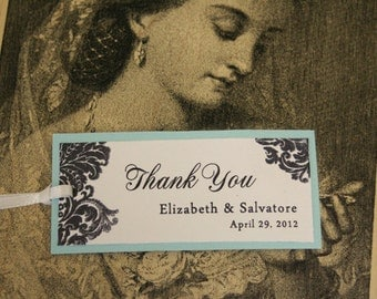 Wedding Favor Tags, Thank You, Favor Tags, Aqua, White, Personalized, Damask, Color Options