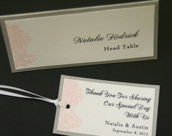 Wedding Favor Tags, Damask, Personalized Message, French, Color Options, Christian, Vow Renewal, Rehearsal Dinner, Favor Tags, Gift Tags