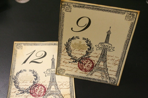 French Wedding Table Numbers, Custom Order, Paris, Eiffel Tower, Vintage Style, Ivory Cardstock, Tent Style Double-Sided