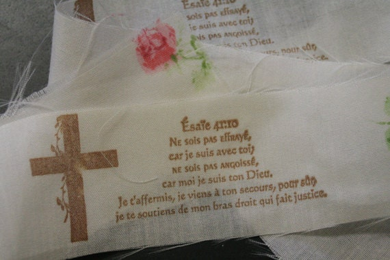 French Scripture, Shabby Chic Inspired, Cottage Style, Roses, Cross, Fabric Trim Ribbon, Hand-Stamped 1 Yards