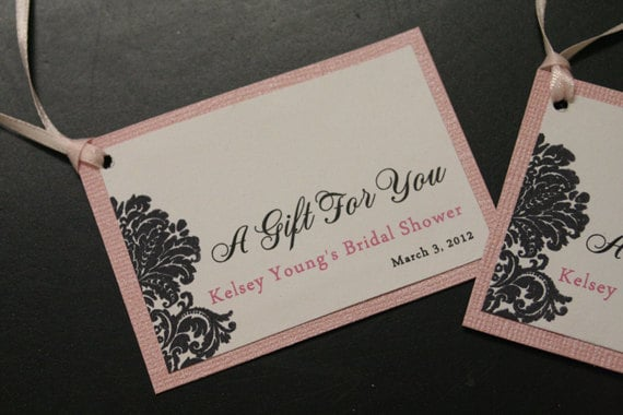 Items Similar To Bridal Shower Favor Tags Wedding Gift Personalized Damask Custom Color Choices On Etsy