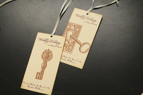 Wedding Blessings for Bride & Groom Tags, Wedding Wish Tree Tags, Wedding Favor Tags, Vintage Keys
