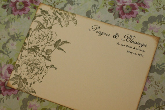 Wedding Prayers and Blessings Cards, Advice Cards, Vintage, Shabby Chic, Christian, French, Climbing Roses, Personalized, Color Options