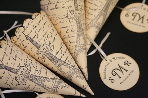 French Wedding Gifts: French Wedding Favor Cones With Custom Monogram Tag Paris