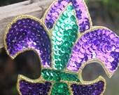 Large Mardi Gras Fleur de Lis Headband