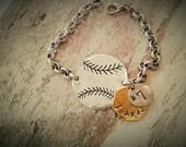 Hand Stamped Baseball/softball Bracelet