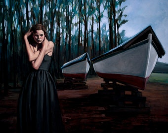 "Oil painting woman trees boats ""Widow for Herself"""