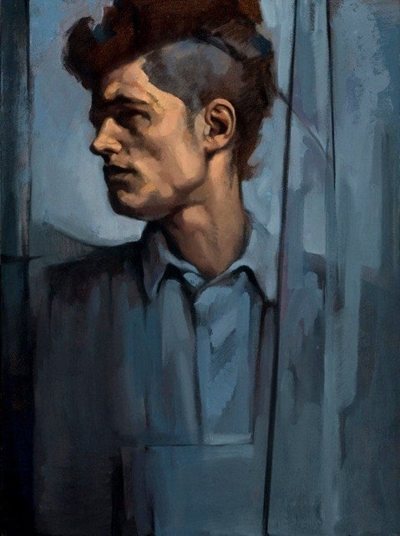 "Oil painting portrait man profile blue gray architecture ""The Architect"""
