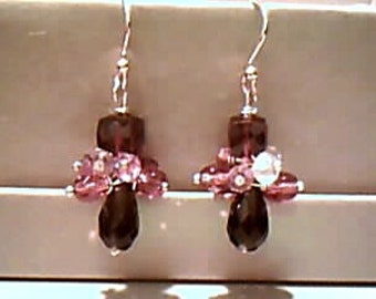 Lux Garnet Smoky Topaz Sapphire, Tourmaline Earrings Autumn Winter Bridal, Lux, Special, OOAK, October Birthday