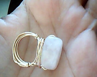True Love Pink Rectangle Rose Quartz Bead Gold Ring Libra/Pisces birthstone,  Romantic Dreamy