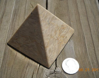 Fossil cell pyramid stone  vintage healing  crystal mid century Egyptian pyramid