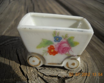 Vintage Porcelian Mid Century cart with pink rose blue  and orange flower sweet dainty Hand painted Miniture