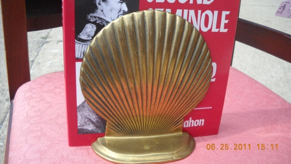Solid  Brass bookends mid century sea shell executive patina .clam shell Beach decor Shabby chic
