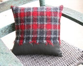 Jermyn Street London - Red Plaid / Pinstripe PILLOW COVER - 14 Inch