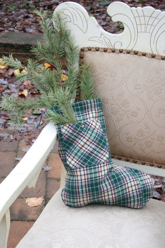SALE - Christmas STOCKING - Green Plaid Wool, Recycled