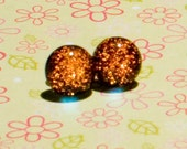 Dichroic Fused Glass Post Earrings: Orange Faerie Stones