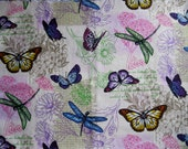 Cotton Butterfly Print One Half Yard, Cream Background, Mulitcolor Butterflies, Quilting Quality, Cranston Print Works Co.