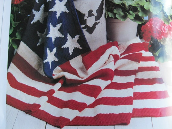 Knitting Pattern Us Flag : Knitting Pattern American Flag Afghan 13 Stars 37x60