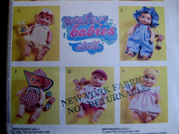 Waterbabies Doll Clothes Wardrobe Pattern, 12 to 22 inch dolls, McCalls 6368, UNCUT FF, 8 Outfits 1990s