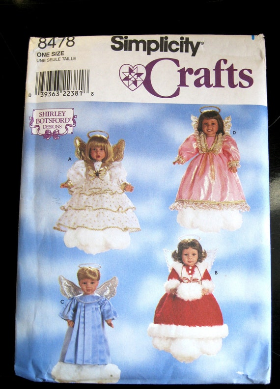Simplicity 8478 18 inch Doll Clothes Wardrobe Pattern, UNCUT FF 4 Angel Costumes with Wings, Haloes 1990s Shirley Botsford
