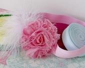 Soft White Feather Shabby Chic Pretty Pink Rose Headband