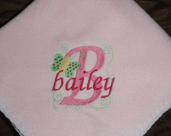 Monogrammed Butterfly Baby Blanket Personalized Free