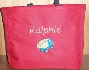 Embroidered Personalized Baby Dump Truck Tote Diaper Bag